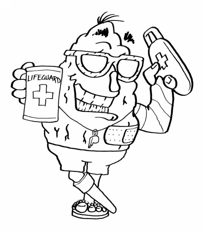 Free coloring and drawings Easy lifeguard Coloring page