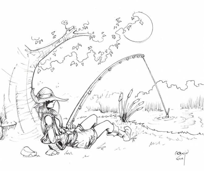 Free coloring and drawings A beautiful fisherman's drawing Coloring page