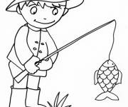 Coloring pages easy fisherman