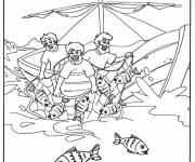 Coloring pages Easy fishing boat