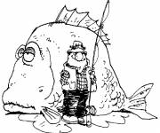 Coloring pages Fisherman and big fish