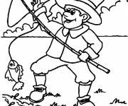 Coloring pages fisherman and fish