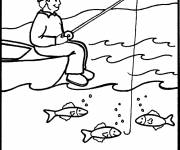 Coloring pages fisherman and line in the sea