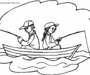 Coloring pages Fisherman boat