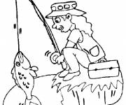Coloring pages fisherman girl