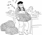 Coloring pages fisherman goes up the cages