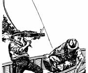Coloring pages Fisherman in a boat