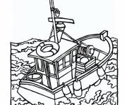 Coloring pages Fishermen in the sea
