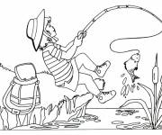 Coloring pages Fisherwoman catches a fish