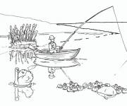 Coloring pages Fishing landscape