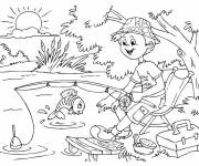 Coloring pages line fishing drawing