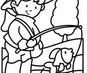 Coloring pages Young river fisherman