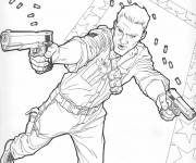 Coloring pages A cartoon armed fighter