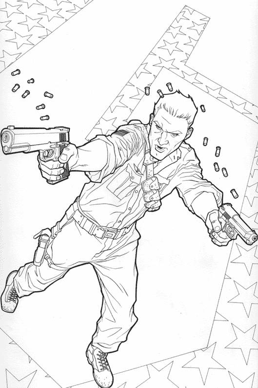 Free coloring and drawings A cartoon armed fighter Coloring page