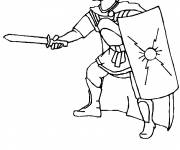 Coloring pages Roman warrior in combat