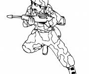 Coloring pages Soldier carries his gun