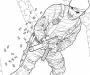 Coloring pages Soldier from the film GI -Joe shoots the enemy