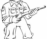 Free coloring and drawings Soldier in battle Coloring page