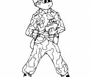 Free coloring and drawings War soldier on computer Coloring page