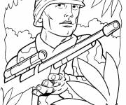 Free coloring and drawings WWII soldiers Coloring page