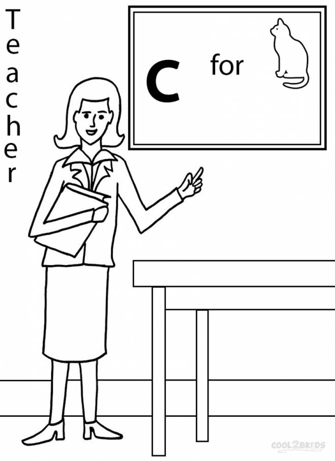 Free coloring and drawings A classroom teacher easy Coloring page