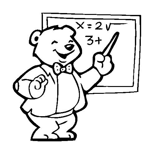 Free coloring and drawings A funny professor bear Coloring page