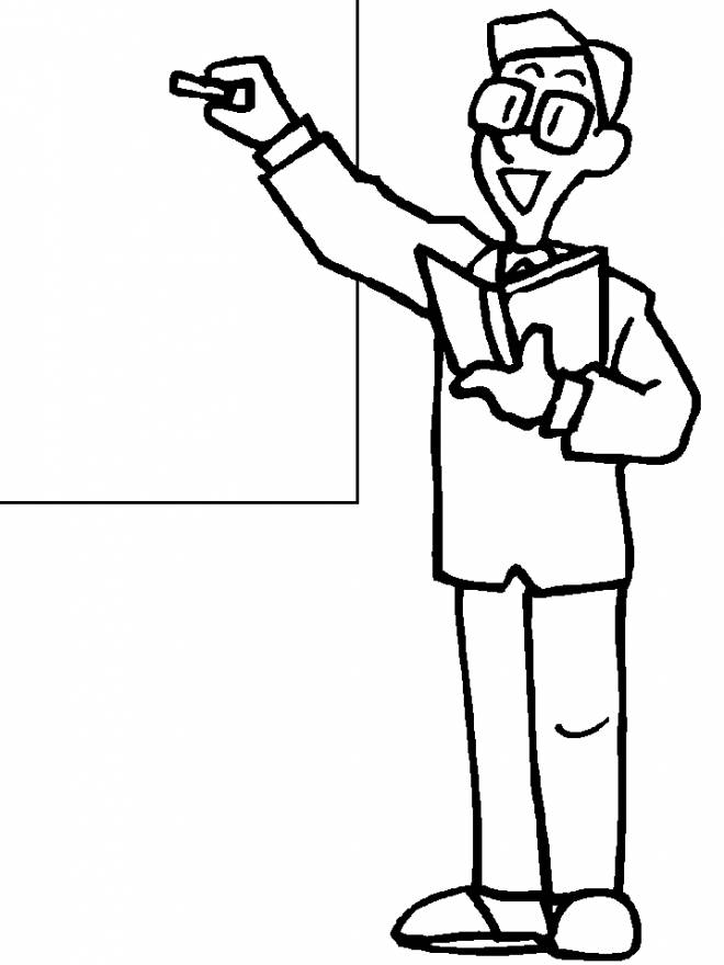 Free coloring and drawings A master writing on the board Coloring page