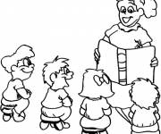 Coloring pages a teacher reads a book to the students