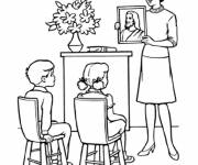Free coloring and drawings A teacher shows a painting of Jesus to the students Coloring page