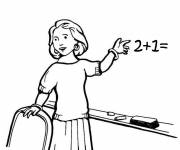 Coloring pages A teacher shows the board