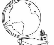 Free coloring and drawings A world map and books Coloring page