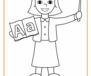 Free coloring and drawings Easy teacher Coloring page