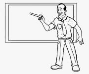 Free coloring and drawings Teacher gives the lesson Coloring page