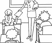 Coloring pages Teacher passes exam papers
