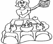 Coloring pages the teacher and students in class