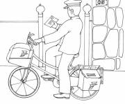 Coloring pages A bicycle postman delivers a letter