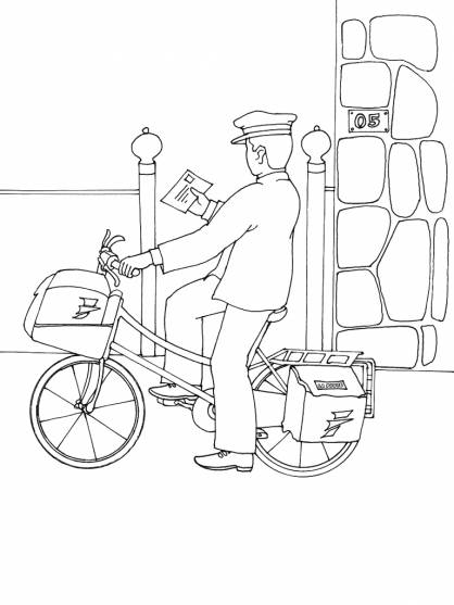 Free coloring and drawings A bicycle postman delivers a letter Coloring page
