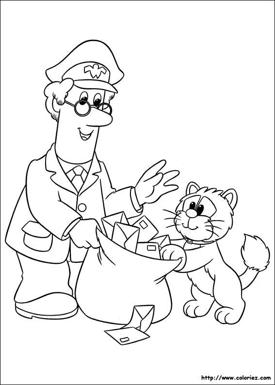 Free coloring and drawings A cat searches for mail in the postman's bag Coloring page
