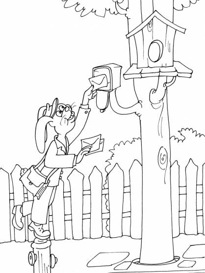 Free coloring and drawings A funny rabbit puts a letter in the mailbox Coloring page