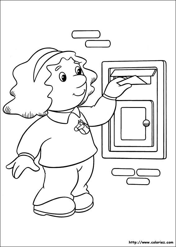 Free coloring and drawings A little girl puts a letter in the box Coloring page