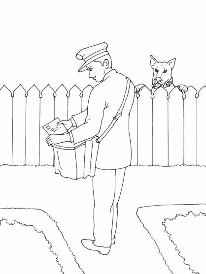 Free coloring and drawings A nasty dog looks at the postman bringing the mail Coloring page