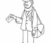 Free coloring and drawings A postman with a letter in his hand Coloring page