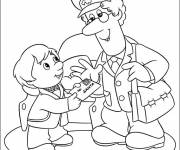 Coloring pages The child sends a letter to Santa Claus
