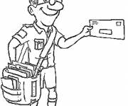 Free coloring and drawings The joyful postman Coloring page
