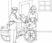 Free coloring and drawings The mail carrier delivers the mail Coloring page