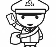 Free coloring and drawings The postman brings the mail Coloring page