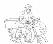 Free coloring and drawings The postman by bike Coloring page