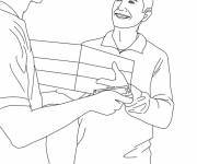 Coloring pages The Postman delivers a package to a man
