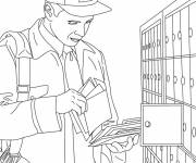 Coloring pages The postman in front of the mailbox
