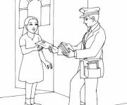 Free coloring and drawings The postman passes a letter to a woman Coloring page